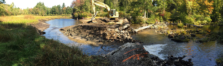 Removing Millie Turner Dam on the Nissitissit River in Pepperell, MA - photo from Peter Hazelton
